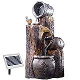 AMUR Solar Gartenbrunnen Brunnen Solarbrunnen Zierbrunnen Wasserfall...