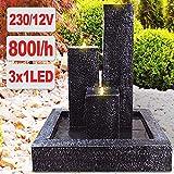AMUR Gartenbrunnen Brunnen Zierbrunnen Trio-Basalt mit LED-Licht 230V -...
